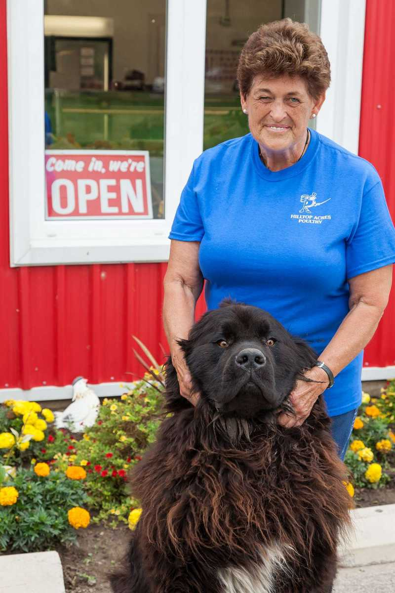 Karen Reist with Ben at Hilltop Acres Poultry Products.